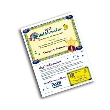 Bubblemaker Certificate PADI with Partecipant Card