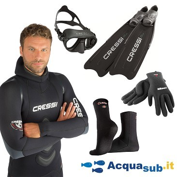 Kit Cressi Apnea Wetsuit Cressi Apnea + Cressi Calibro + Cressi Corsica + Cressi gloves and socks