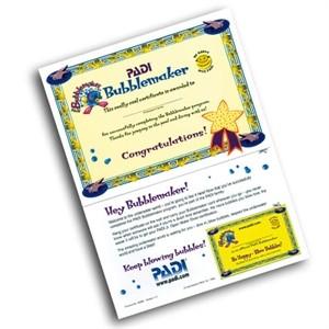 Acquasub Bubblemaker Certificato PADI con Partecipant Card ...